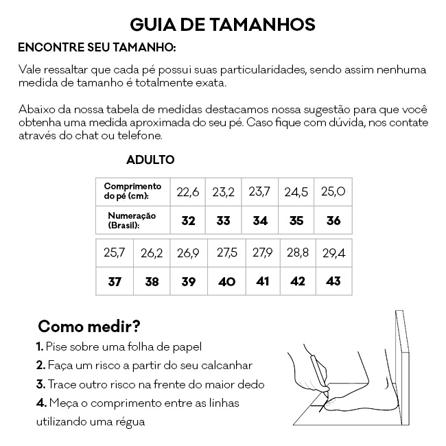 Tabela de Tamanho - Sandálias Anatômicas